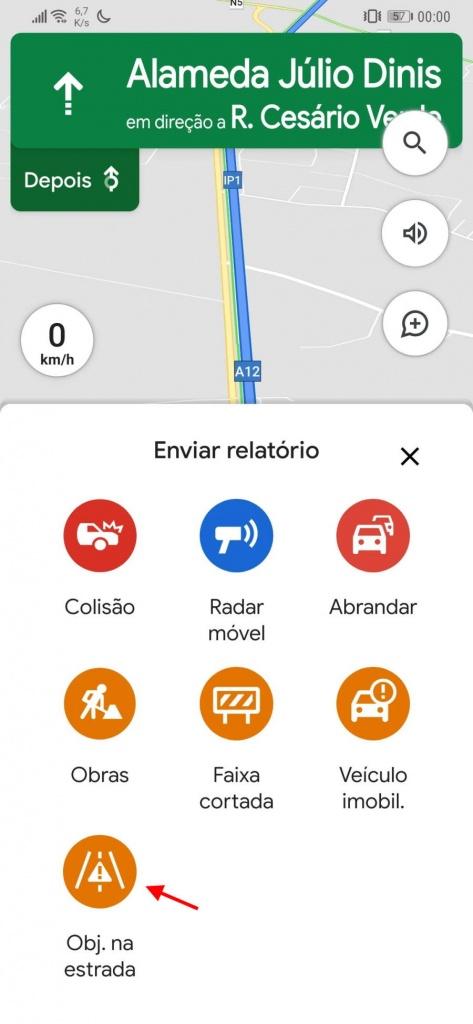 Google Maps estradas problemas reportar