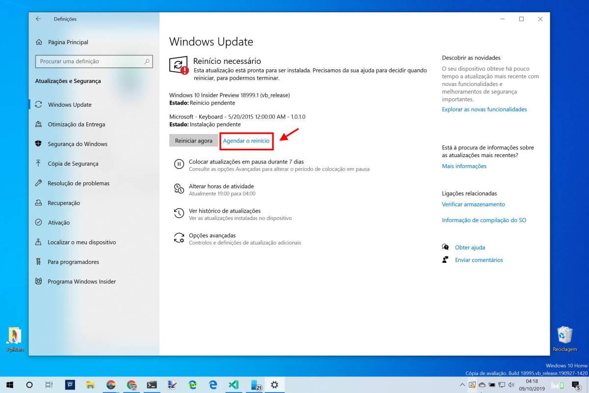Windows 10 atualização instalação reagendar Microsoft