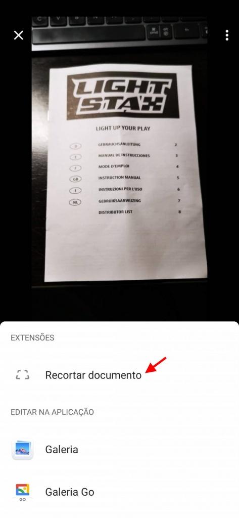 Google Photos recortar documento imagem