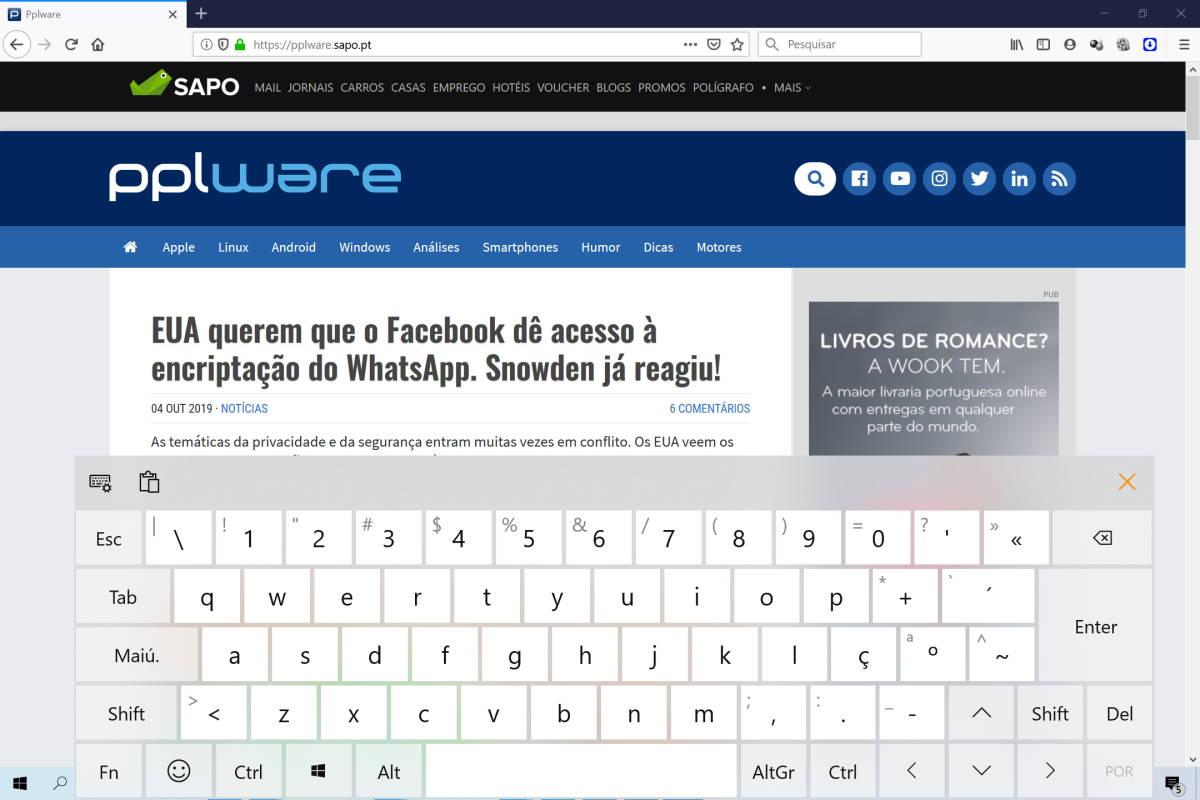 teclado virtual ecrã Windows 10 tátil