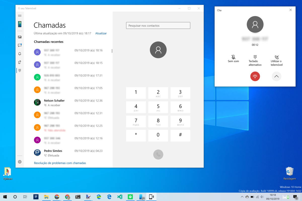 Windows 10 Android chamadas smartphone Microsoft