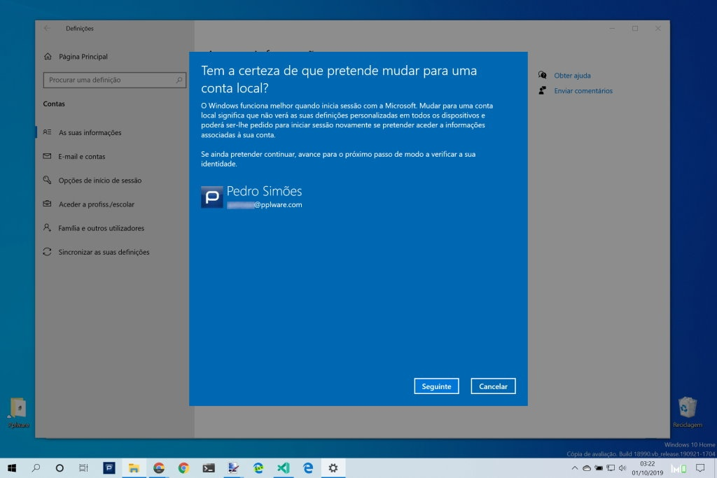 Windows 10 conta local Microsoft Internet