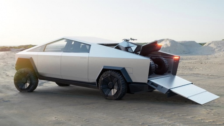Elon Musk confirmou que a Cyberquad será vendida como acessório da Tesla Cybertruck