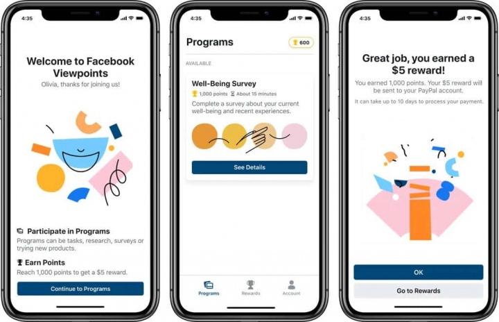 Facebook Viewpoints dados pagar serviços