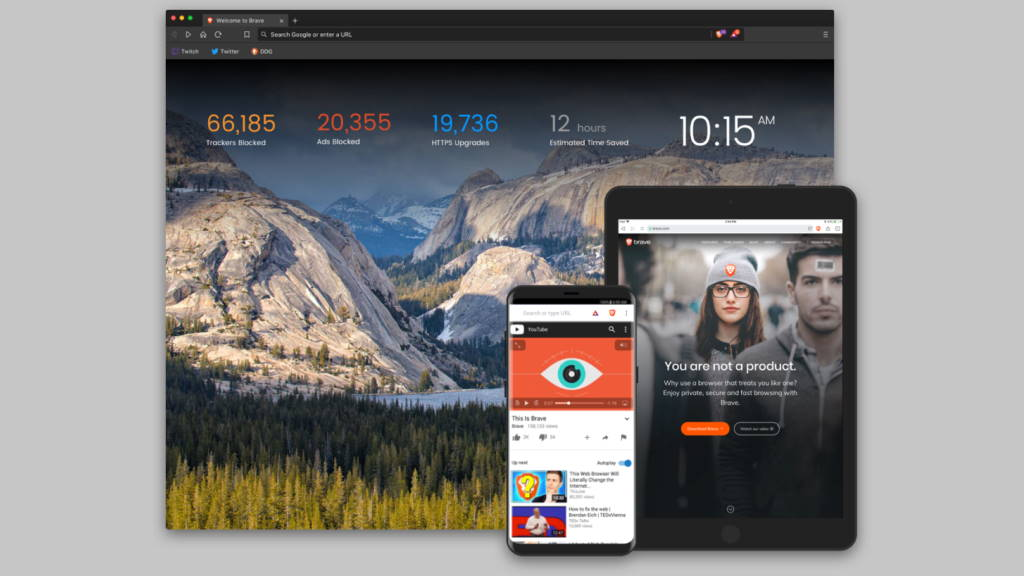 Brave browser Internet rápido privacidade