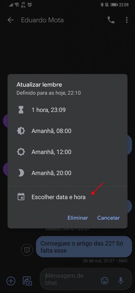 Mensagens Android alertas lembretes