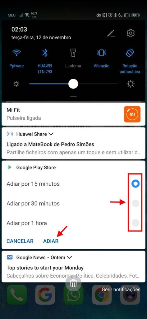 adiar notificações android tempo smartphone Google
