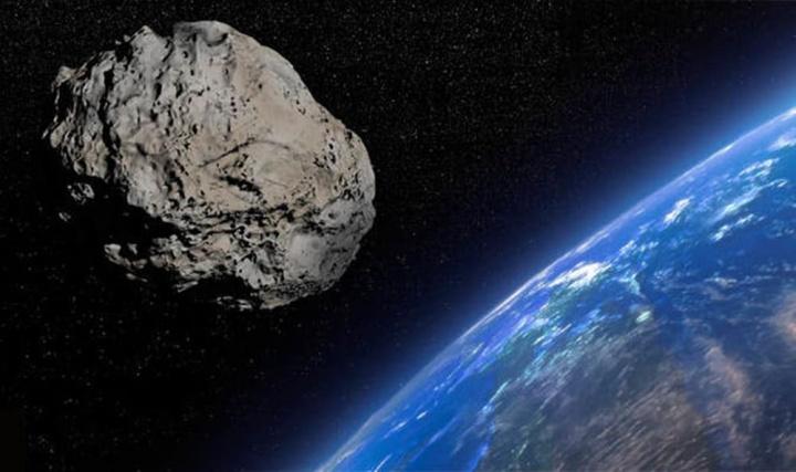 Imagem ilustrativa de um asteroide gigante que passará perto da Terra no final de 2019