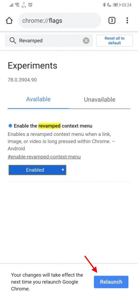 Chrome browser menu contexto interface