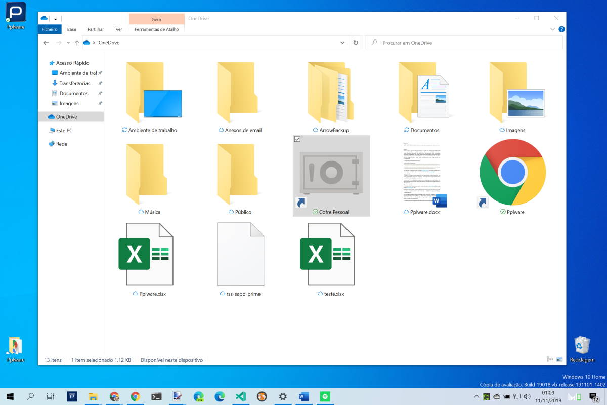 Cofre Pessoal OneDrive Windows 10 Microsoft ficheiros