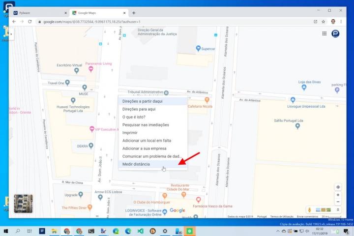 Google Maps medir área mapa pontos