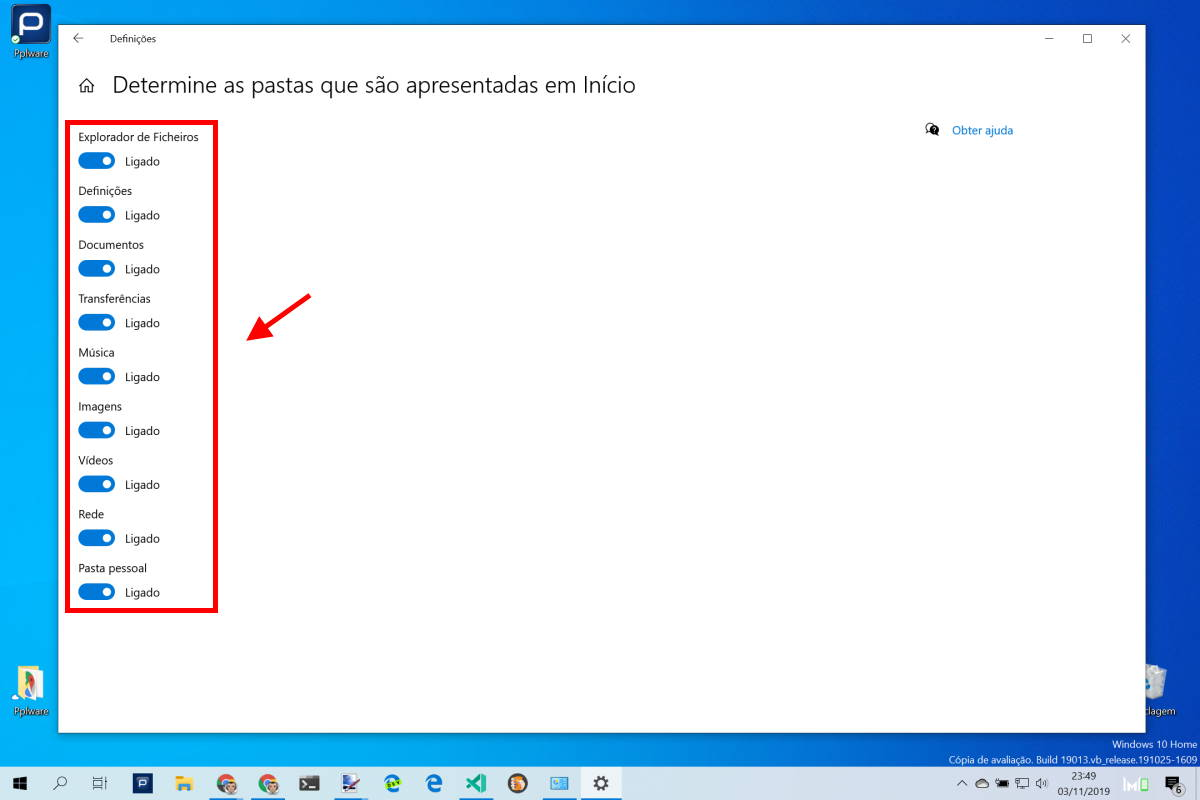 Menu Iniciar Windows 10 pastas utilizadores