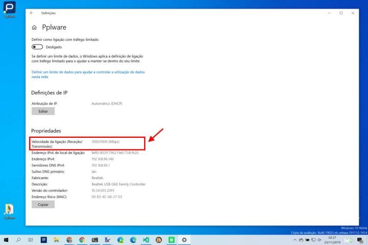 Windows 10 placa rede velocidade máxima