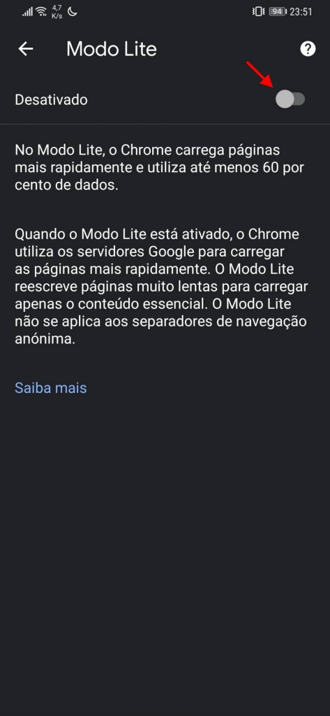 Chrome browser Google dados poupar