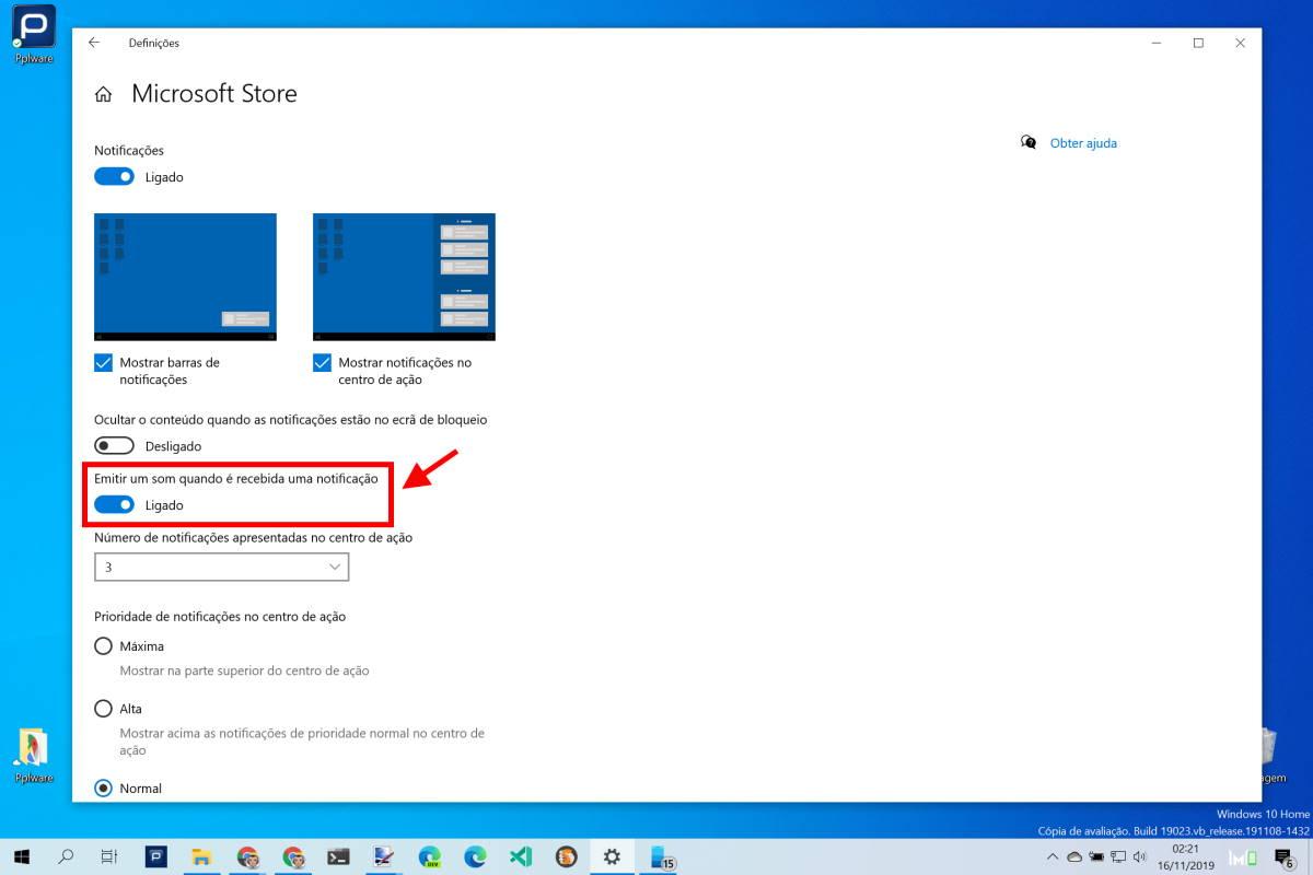 Windows 10 sons notificações aplicação desligar