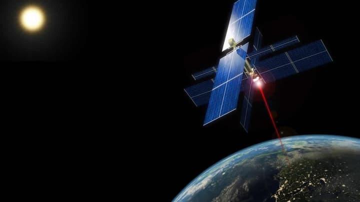Imagem ilustração de energia solar captada no Espaço e enviada para a Terra