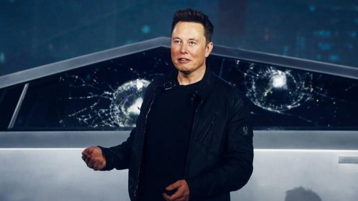 Elon Musk Tesla Cybertruck vidro pickup