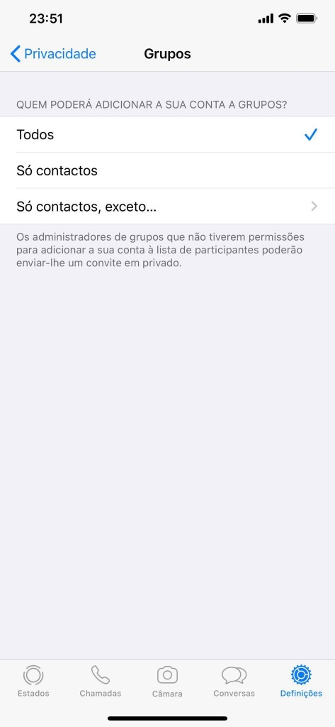 WhatsApp iOS funcionalidades utilizadores serviço