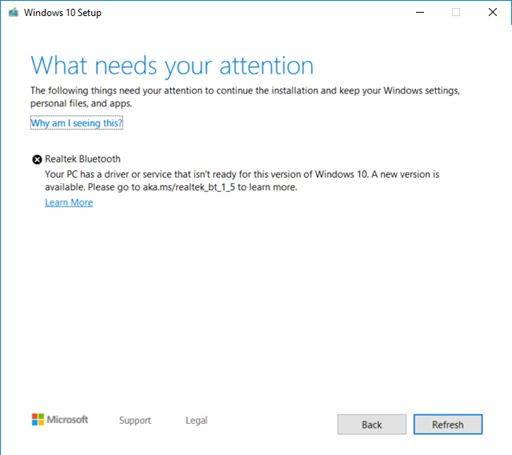 Windows 10 atualização problemas driver Bluetooth
