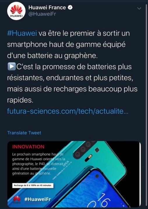 Huawei confirms design and graphene battery in future P40