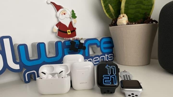 Imagem dos AirPods e do Apple Watch, os vestíveis da Apple