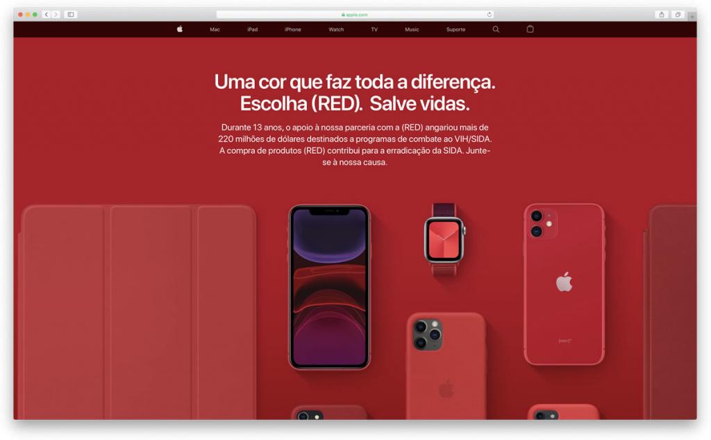 Imagem área Apple com iPhone, iPod touch e não só com PRODUCT(RED) para ajuda no combate à SIDA