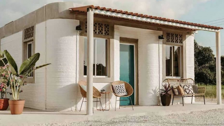 Imagem de casa impressa numa impressora 3D numa zona rural do México