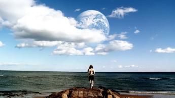 Imagem outra terra com extraterrestres no universo