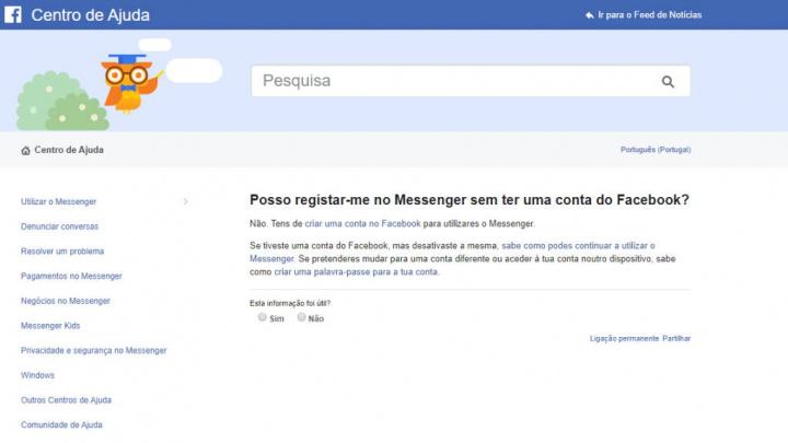 Facebook Messenger conta telefone utilizador