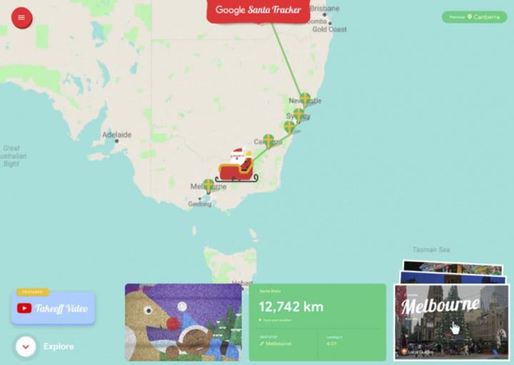 Mapa do Google com o caminho por onde passará o pai natal e as suas renas