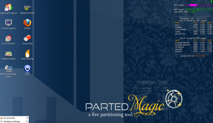 Parted Magic 2019_12_24: Controlo total das partições do sistema
