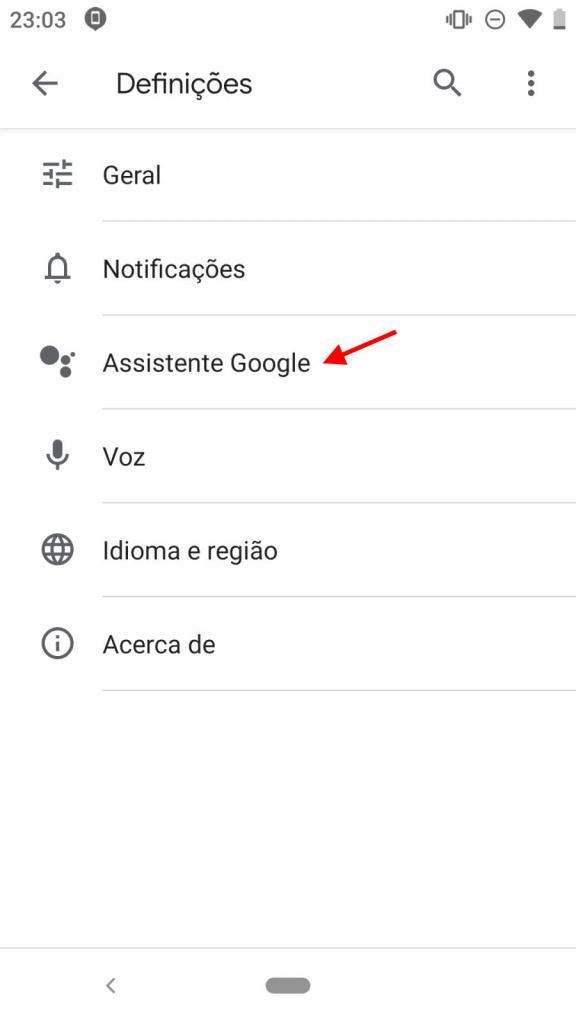 Assistente Google Android smartphone voz