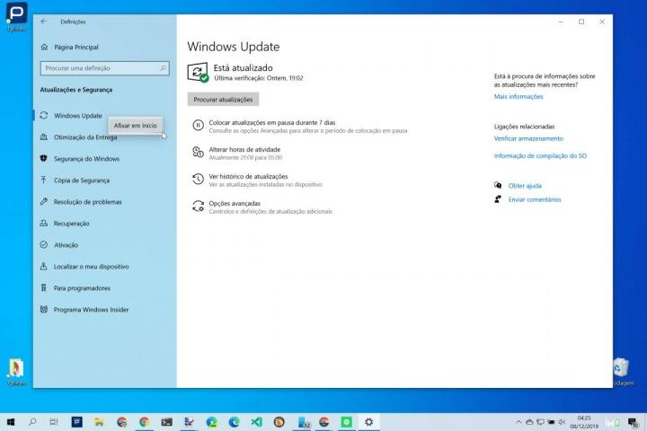 Menu Iniciar Windows 10 Definições opções