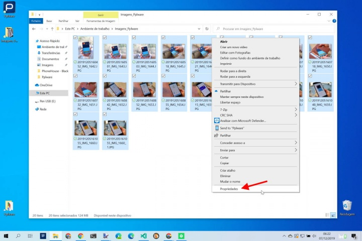 fotografias EXIF Windows 10 dados remover