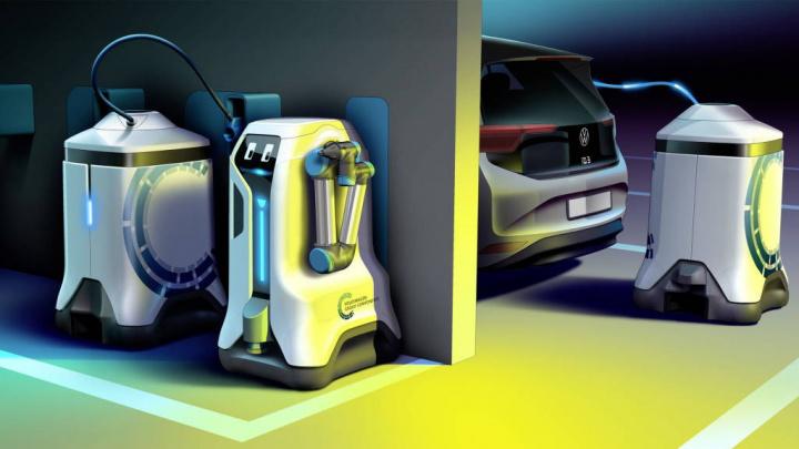 Volkswagen carros elétricos carregamento robôs