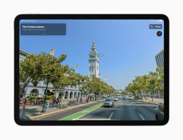 Imagem da nova app Mapas da Apple disponível no território dos Estados Unidos
