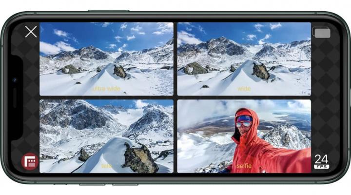 Imagem de iPhone com várias câmaras a captar vídeo