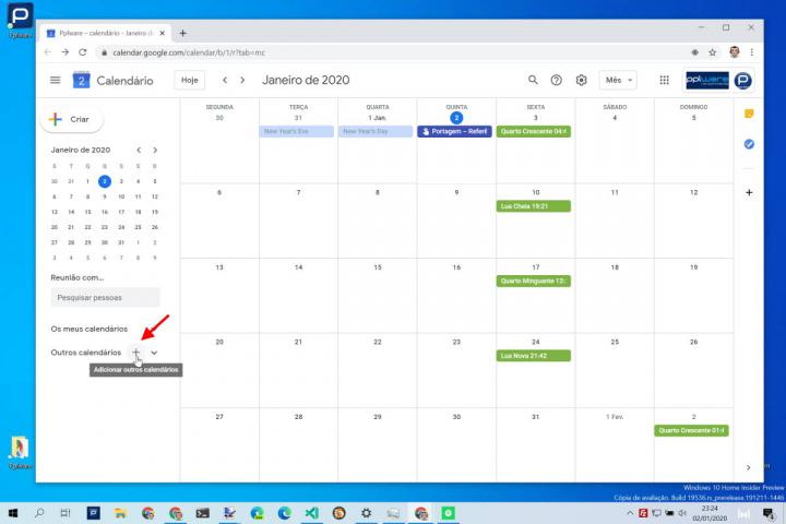 Calendário Google feriados país adicionar
