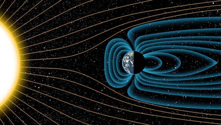 Imagem do campo magnético que serve de escudo ao planeta Terra