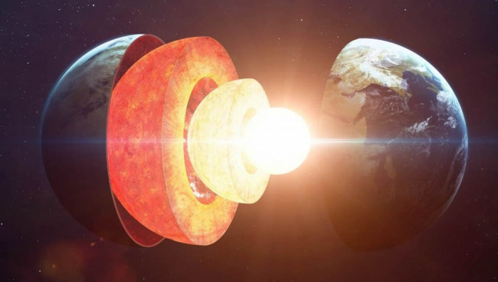 Ilustração do centro da terra que poderá ter eventos que produzem vulcões e terramotos