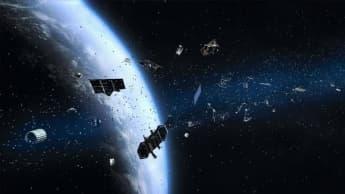 Imagem detritos espaciais deixados por satélites abandonados