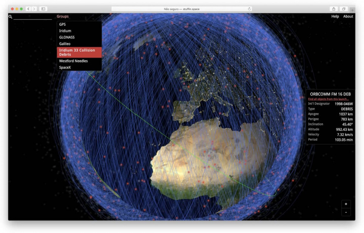Imagem dos detritos espaciais referenciados resultante de satélites