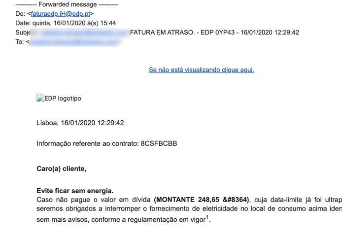 Muito cuidado! emails a circular da EDP, CTT, Intrum e Millenium... são fraude