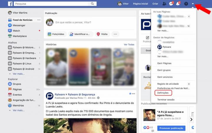 Imagem definições de privacidade Facebook
