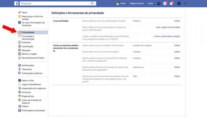 Imagem de controlo de privacidade no Facebook para limitar os pedidos dos amigos