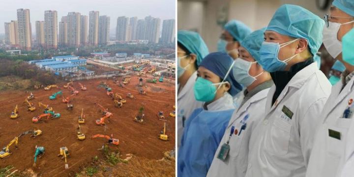 Construção do hospital e médicos chineses