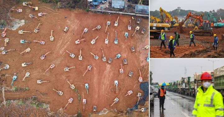 imagens dos trabalhos de construção do hospital na China