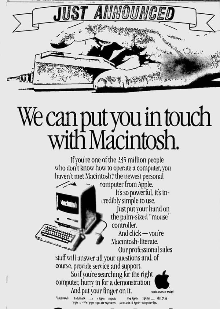 Imagem de publicidade do novo Macintosh