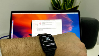 Imagem Apple Watch a desbloquear o MacBook Pro