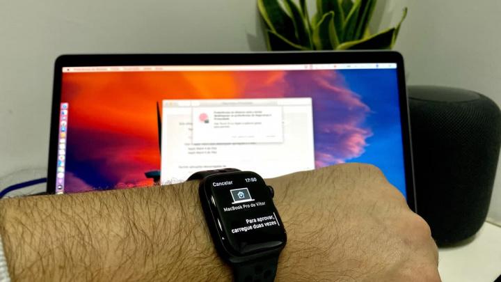 Imagem Apple Watch a desbloquear o MacBook Pro